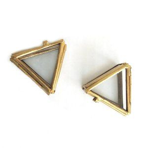 Distressed Gold Metal Glass Triangle Display Case